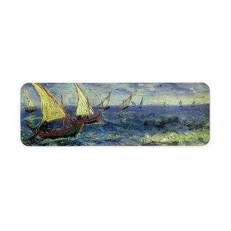 Seascape at Saintes Maries by Vincent van Gogh Label