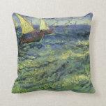 Seascape at Saintes Maries by Vincent van Gogh Pillow