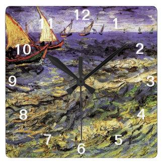 Seascape at Saintes-Maries by Vincent van Gogh Square Wall Clock