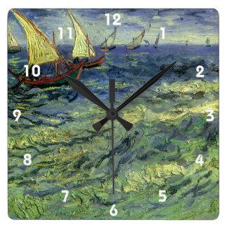 Seascape at Saintes Maries by Vincent van Gogh Square Wall Clock