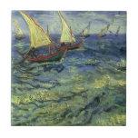 Seascape at Saintes Maries by Vincent van Gogh Small Square Tile