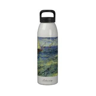 Seascape at Saintes Maries by Vincent van Gogh Water Bottles