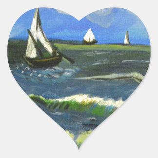 Seascape at Saintes-Maries, Van Gogh Heart Sticker