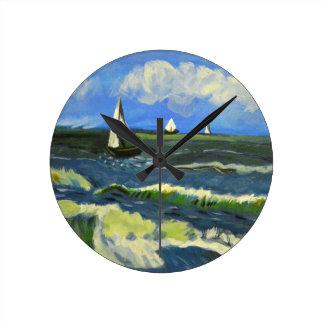 Seascape at Saintes-Maries, Van Gogh Round Clock