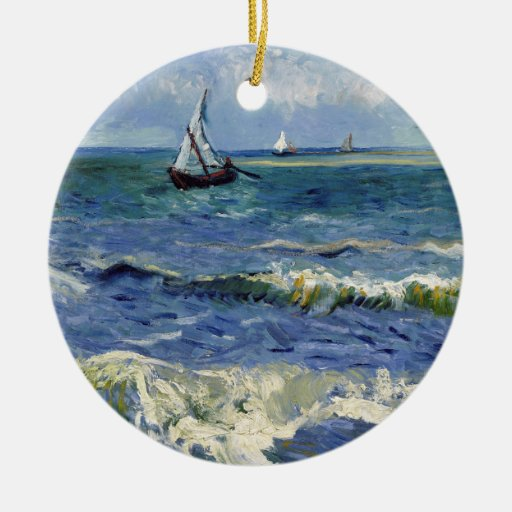 Seascape at Saintes Maries - Vincent Van Gogh Double-Sided Ceramic Round Christmas Ornament