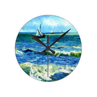Seascape at Saintes-Maries, Vincent Van Gogh Round Clock