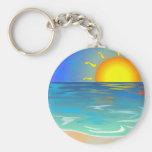 Seascape Basic Round Button Keychain