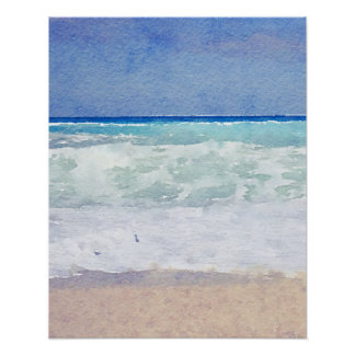 Seascape Beach and Waves Watercolor Poster