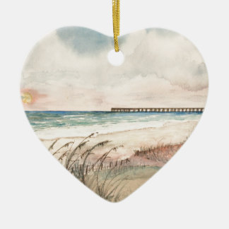 Seascape beach art gifts ceramic ornament