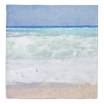 Seascape Beach Scene Watercolor Duvet Cover