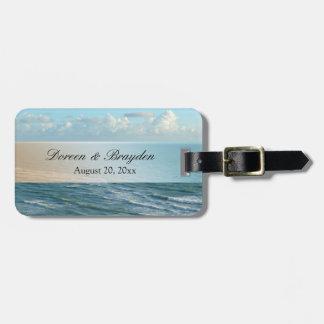 Seascape Blue and Brown Ocean Beach Wedding Bag Tag