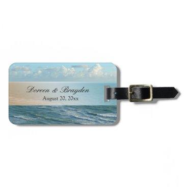 Beach Themed Seascape Blue and Brown Ocean Beach Wedding Bag Tag