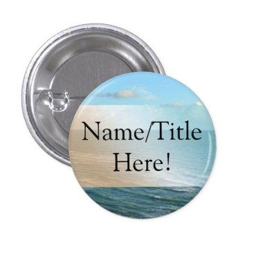 Beach Themed Seascape Blue and Brown Ocean Beach Wedding Button