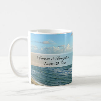 Seascape Blue and Brown Ocean Beach Wedding Coffee Mug