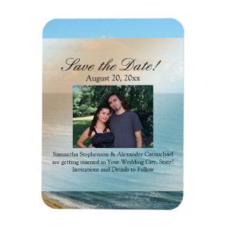 Seascape Blue and Brown Ocean Beach Wedding Magnet