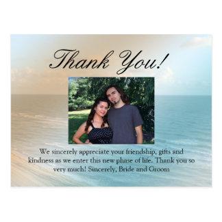Seascape Blue and Brown Ocean Beach Wedding Postcard