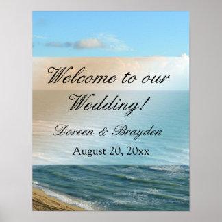 Seascape Blue and Brown Ocean Beach Wedding Poster