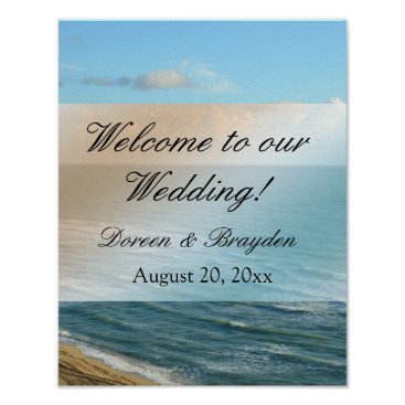 Beach Themed Seascape Blue and Brown Ocean Beach Wedding Poster