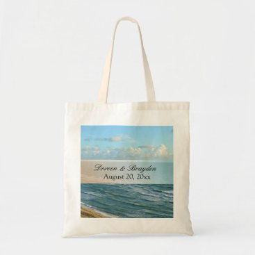 Beach Themed Seascape Blue and Brown Ocean Beach Wedding Tote Bag