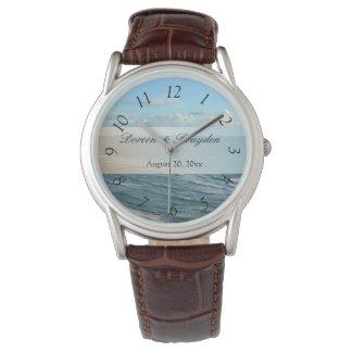 Seascape Blue and Brown Ocean Beach Wedding Wristwatch