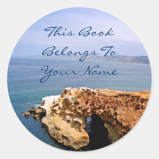 Seascape Bookplate Round Stickers