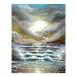 Seascape Dusk Design Customized Letterhead