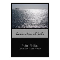 Seascape Framed Celebration of Life Invitation Card