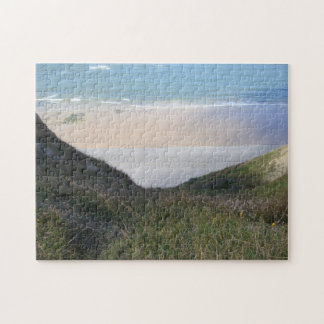 Seascape grassy hills with footpath photo jigsaw puzzle