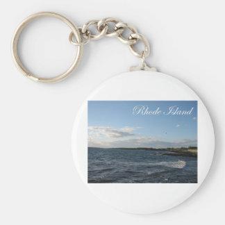 Seascape in Rhode Island Basic Round Button Keychain
