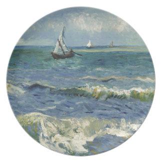 Seascape Les Saintes-Maries-de-la-Mer by Van Gogh Melamine Plate