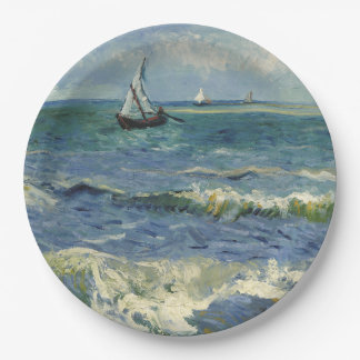 Seascape Les Saintes-Maries-de-la-Mer by Van Gogh Paper Plate