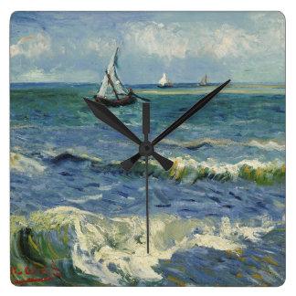 Seascape Les Saintes-Maries-de-la-Mer by Van Gogh Square Wall Clock