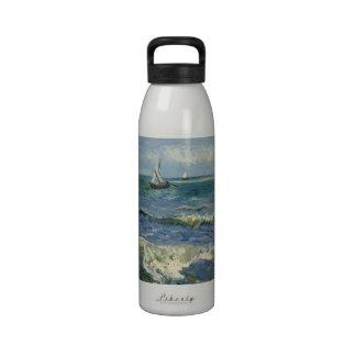 Seascape Les Saintes-Maries-de-la-Mer by Van Gogh Water Bottle