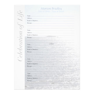 Seascape Memorial Guest Book - Binder Filler Pages Letterhead