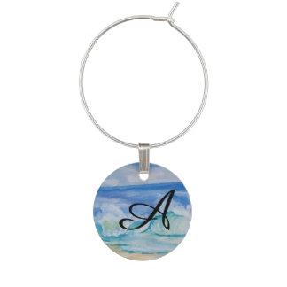 Seascape monogram wine glass charm