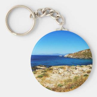Seascape - Mykonos, Greece Basic Round Button Keychain