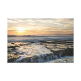 Seascape of water over rocks canvas print