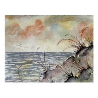 seascape painting fall autumn colors postcard