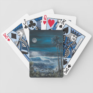 Seascape painting on bicycle playing cards