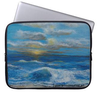 Seascape painting on computer sleeve