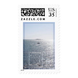 Seascape Peaceful Sea and Boat Postage 2