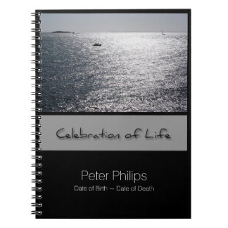 Seascape - Personalized Memorial Guest Book Spiral Notebook