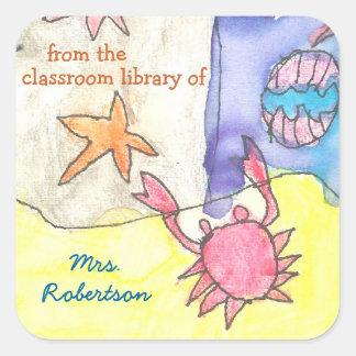 Seascape personalized teacher gift bookplate