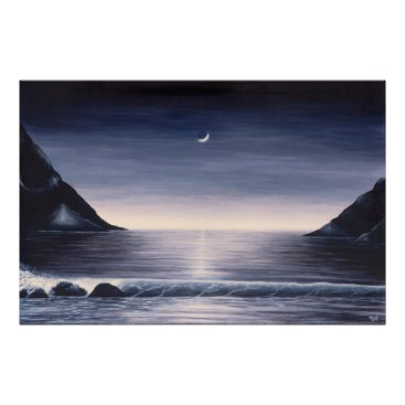 Beach Themed Seascape poster by Mike Colt black and white
