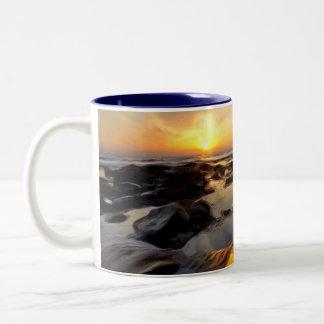Seascape Sunsets Two-Tone Coffee Mug