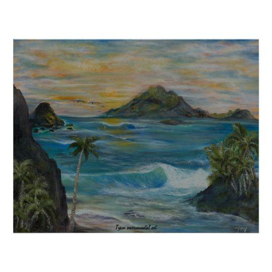 Seascape tropical painting on poster