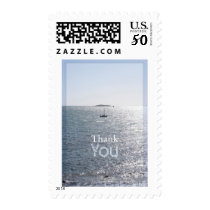 Seascape with a boat 3 Thank You Postage