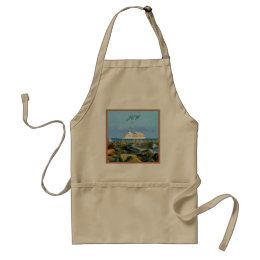 Seascape with Cruise Ship Monogrammed Adult Apron