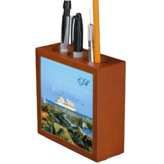 Seascape with Cruise Ship Monogrammed Desk Organizer