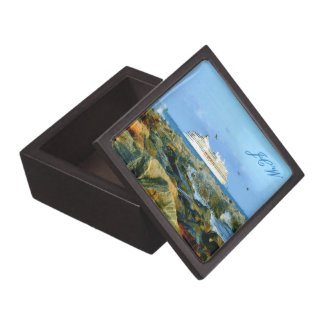 Seascape with Cruise Ship Monogrammed Gift Box